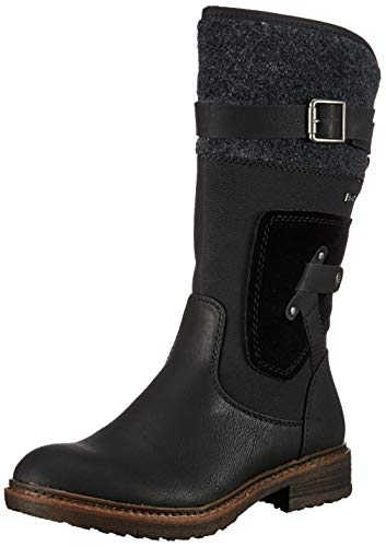 Rieker Damen 94761 Hohe Stiefel, (Schwarz/Anthrazit 00), 37 EU
