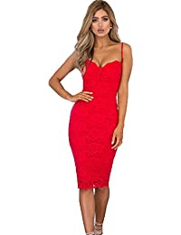 dd7680ea4f0a5 UK Womens Bodycon Lace Strappy Dress Ladies Party Evening Midi Dress Size 6- 14