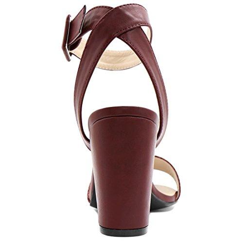 Allegra K Femme Talon Épais Sandales Sangle Cheville Wine