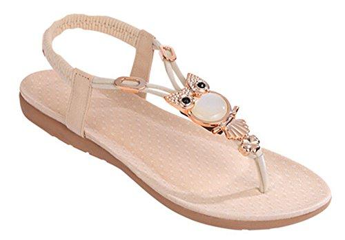 Fortuning's JDS Nuovo design elegante infradito T-strap sandali piatti con  strass Beige