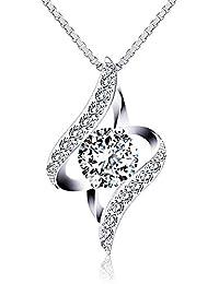 """J.Rosée Collier fantaisie """"Ange Gardien"""" en argent 925, Cristal bleu/blanc, Diamants entourés"""