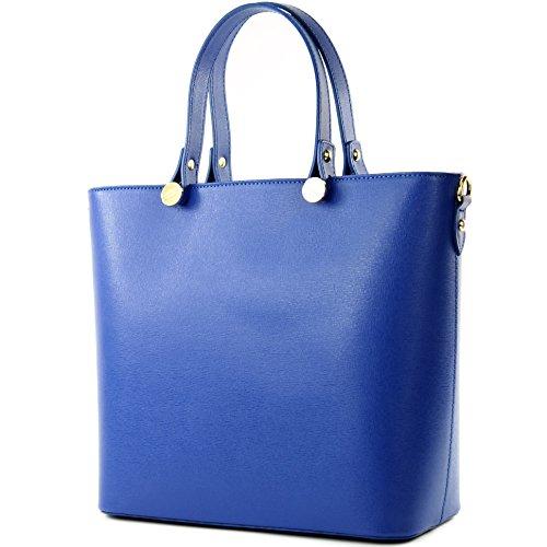 modamoda de - ital. Ledertasche Damentasche Shopper Tragetasche Elegant Echtleder T132 Blau