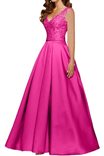 Promgirl House Damen Prinzessin Pink OA Spitze V-Ausschnitt Abendkleider Ballkleider mit Aermel-46...