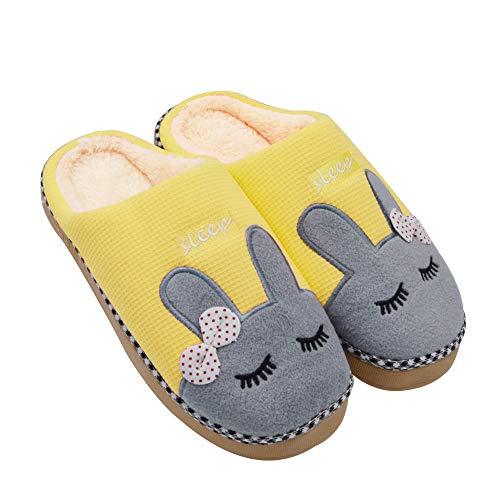 Sporzin Winter Baumwolle Pantoffeln für Damen Herren Flauschige Kuschelig Hausschuhe Super Warme Plüsch Hausschuhe und Indoor Weiche Rutschfeste