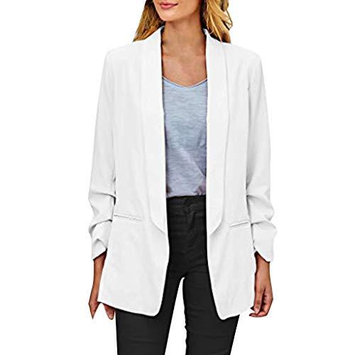 Setsail Damen Lässige Fashion Blazer Business-Jacke Geraffte Langarm Open Front Fit Office Cardigan Jacke Elegantes und bequemes Top -