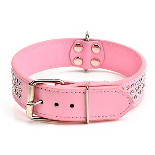 VORCOOL Einstellbare Drei Zeilen Strass PU Hundehalsband Leinen- Grösse M (Rosa) (Hundehalsband Design Einstellbar)