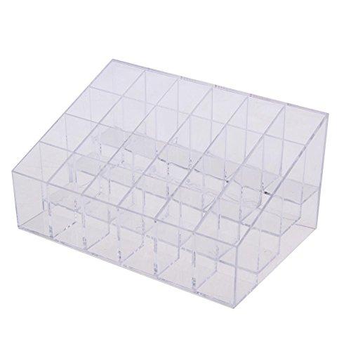La Cabina Boîte de Rangement Transparent(24 compartiments) Panier de Rangement Ajustable pour Cosmétique Maquillage Bijoux Ongle Nail Art