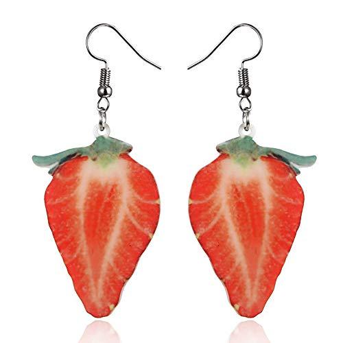 Setsail Mode Kreative Frucht Ohrringe Kleine Frische Frucht Ohrstecker, Wassermelone Apfel Ananas Erdbeere Orange Ohrringe (A)