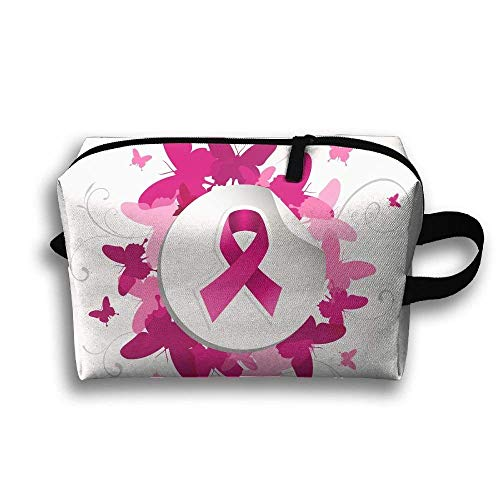 Travel Bags Pink Ribbon Breast Cancer Awareness Portable Storage Bag Clutch Wallets Cosmetic Bags Organizer Zipper Hangbag Carry Case -