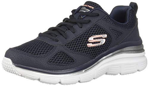 Skechers fashion fit-perfect mate scarpe da ginnastica, da donna, nero/bianco, blu (nvy.), 42 eu