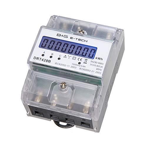 B+G E-Tech DRT428B digitaler Stromzähler Drehstromzähler für DIN Hutschiene, Energiemessgerät 400V 20(80) A mit S0 Schnittstelle Digitale Stromzähler
