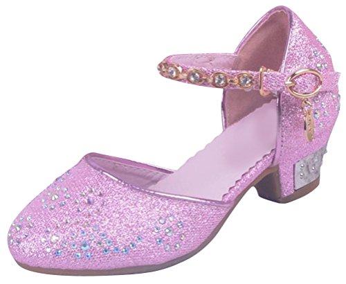 SMITHROAD Mädchen Prinzessin Schuhe Giltzer Sandale Kinder Hot-Fix Strass Halbschuhe Kostüm Ballerinas Absatz Gr. 24 bis 35 Pink