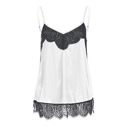 NNVNN Mode Sommer Frauen Silk Satin Camisole Plain Strappy Weste Top V-Ausschnitt Sleeveless Bluse Lässige Tank ()