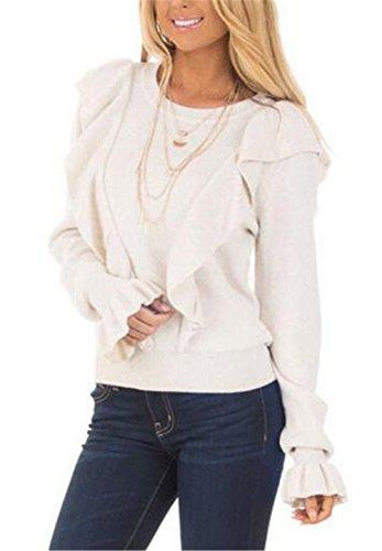 AILIENT Maglie Con Volant Donna Casual Maglietta Maniche Tromba Girocollo Allentato Casuale Camicetta Eleganti T-Shirt Semplice Tops White