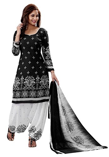 Salwar Studio Women's Black & White Synthetic Floral Printed Dress Material with...