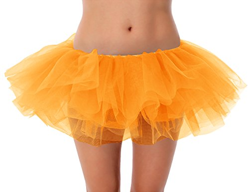Dressystar Damen Retro Rockabilly Swing Petticoat Ballett Tutu Unterrock in verschiedenen Farben Orange
