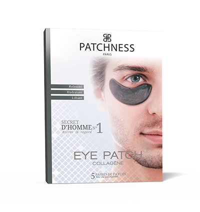 Patchness - Eye patch nero per uomo, patch correttore in collagene e acido ialuronico, 5 paia