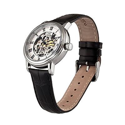 Reloj Automatico Rotary Para Hombre Con Pantalla Blanca Analogica Y Correa De Cuero Negro de Rotary
