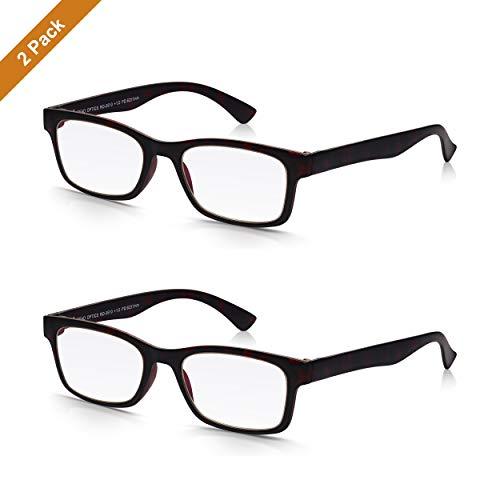 Read Optics 2er Pack Schildpatt Lesehilfen: In Stärke +2,0 mit leichtem Rahmen, hochwertigen Gläsern. Retro Brillen im italienischen Stil mit robustem, dünnem Tortoise Vollrahmen. Für Herren und Damen