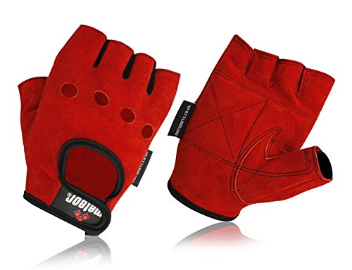 met-x Leather Quality Fingerless Gloves Real Leather Soft Weight Training Cycling Bike Wheelchair Body building weight lifting GYM Red Suede Leather