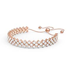 Idea Regalo - Eternity a tre file Diamond CZ bracciale tennis in argento placcato oro 18 kt