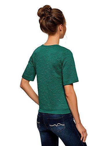 oodji Collection Damen Sweatshirt aus Strukturiertem Stoff mit Kurzen Ärmeln Grün (6E00N)