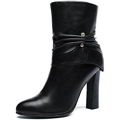 Tubo en la cabeza con pesadas botas con botas Martin redondo de Dama Super alto tal¨®n zapatos de cuero para oto?o/invierno , black , 35