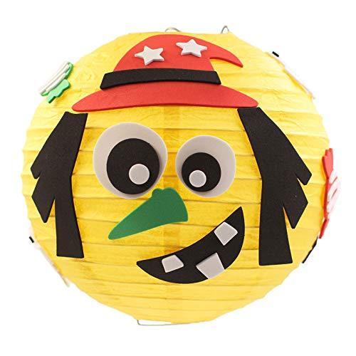 Halloween Feiern Partys Dekoration, Halloween-Papier Lanter, Childern DIY Lanter, 3D Fledermaus-Kürbis-Spinnen-Vogelscheuche-Papier-hängende Dekorationen (Farbe : Yellow)
