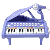 Amy & Benton Mini Juguete de Piano con 24 Teclas, Regalo del Bebé para niñas Piano Teclado Juguete con Micrófono, Instrumento Educativo con Luces y Canciones de Música de 1 2 3 años (Púrpura)