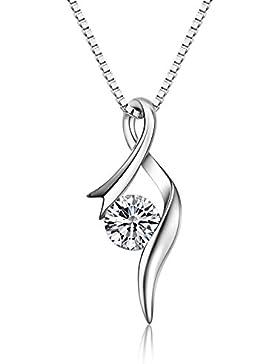 S.Vantine Kette Damen Halskette aus 925 Sterling Silber Anhänger mit glitzernden Zirkonia Diamanten in Form einer...