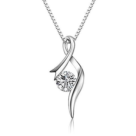 S.Vantine Kette Damen Halskette aus 925 Sterling Silber Anhänger mit glitzernden Zirkonia Diamanten in Form einer schwungvoll geworfenen offenen Schleife an einer 45cm langen Halskette