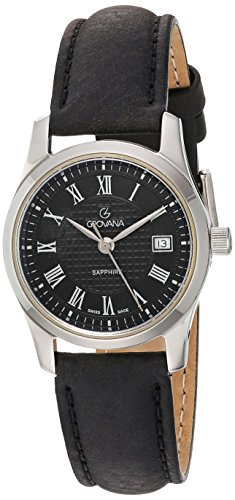 GROVANA 3215.1534 Women's Quartz Swiss Watch with Black Dial Analogue Display and Black Leather Strap