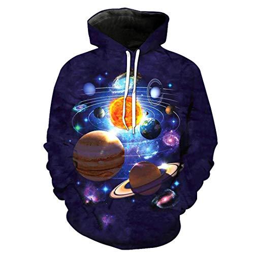 Unisex 3D Print Shocking Sky Planet Pattern Schlank Stylish Hoodies 2422 4XL (Für Männer Transformator-shirts)