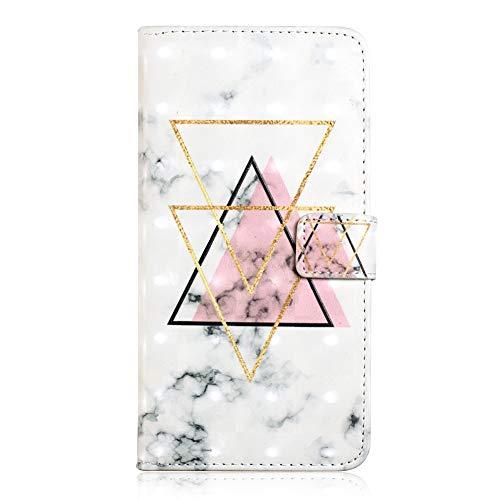 A6 2018 Handytasche EDAROO Flip Case für Samsung Galaxy A6 2018 Hübsche Girly weiße Marmor Rosa Dreiecke Motiv 3D Glitzer PU Lederhülle Brieftasche Magnetverschluss Ständer Handyschale Schutzhülle
