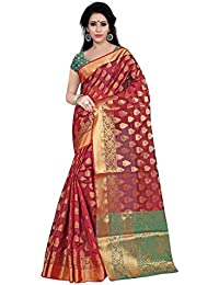 Aneeka Fashion Red Color Banarasi Silk Saree Indian Bollywood Sari