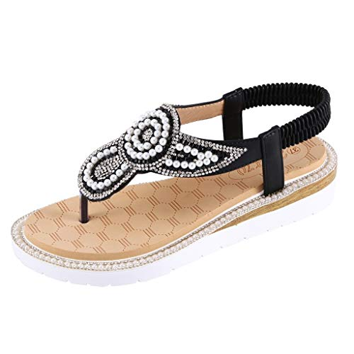 Lilicat Sandali da Donna Estate Modello Bassi Elegante Bohemia Perline Decorare Estivi Casuale Estate Flip Flop Casual Strass Clip On Flip Flops (Nero,42 EU)