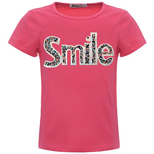 Mädchen Kinder Glitzer T-Shirt Oberteil Hologramm 22537 Pink Größe 152