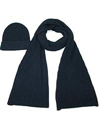 Lovarzi - Bufanda hecha punto y sombrero conjunto para hombres y mujeres - lana y bufanda de seda y sombrero set