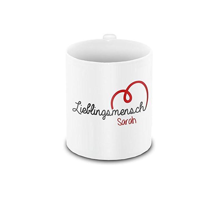 Lieblingsmensch-Tasse mit Namen Sarah und schönem Motiv zum Valentinstag - Liebestasse Keramiktasse Freundschafts-Tasse