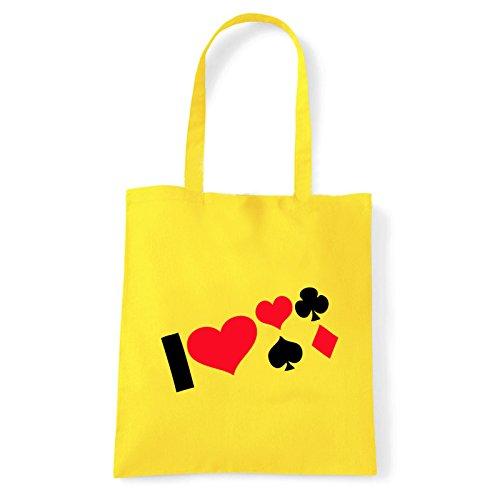 Art T-shirt, Borsa Shoulder i-love-poker Giallo