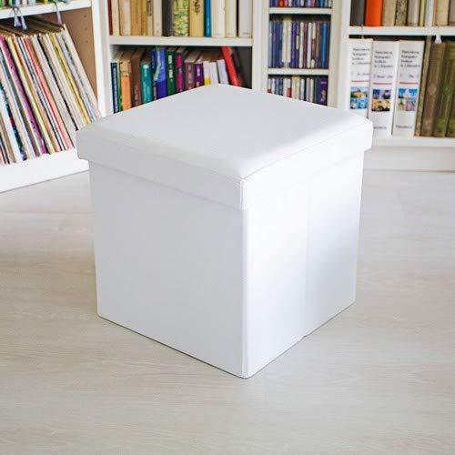 Sitzhocker, Sitzcube mit Stauraum u. Deckel, Fußablage, Sitzwürfel aus Kunstleder, 38x38x38 cm, weiß ()