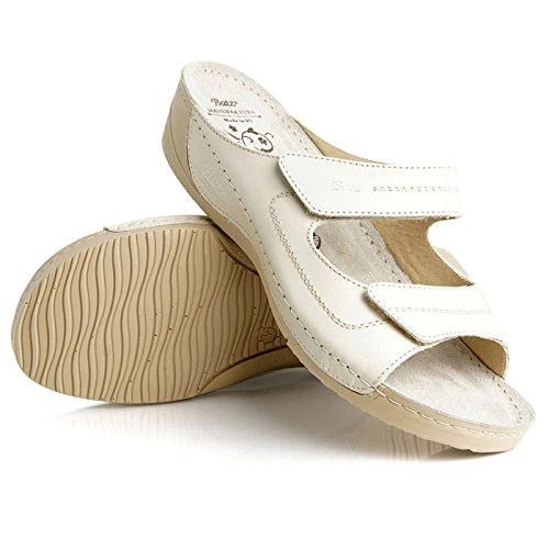 Batz Olivia Scarpe Comfort Di Alta Qualità, Scarpe Di Cuoio, Mulo, Sandalo, Beige Da Donna
