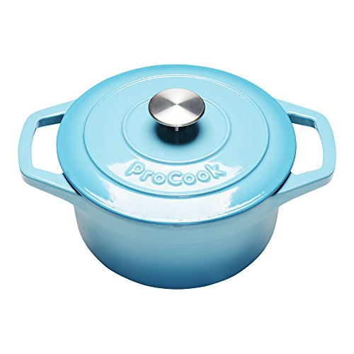 ProCook Cast Iron Induction Enamel Casserole 20cm/2.7L Round Graduated Turquoise