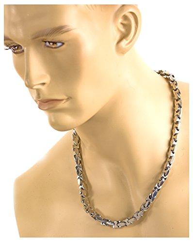 Silber-farbene-Kette Rapper Massiv Halskette Accessoires Glieder-Kette Gangster Silver-Chain PIMP Proll Metall Kostüm Hip-Hop Panzerkette - Silber Gangster Kostüm