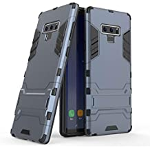 DMG Rugged Armor Hard Back Case 360 Bumper Protection Kickstand Cover for Samsung Galaxy Note 9 (Pebble Blue)