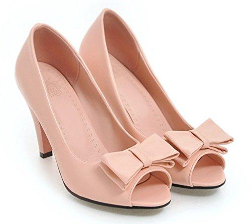 Aisun Femme Elégant Noeud Peep Toe Promotion Sandales Rose