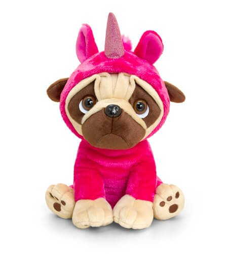 Pugsley in Unicorn Onesie 20cm (Dark Pink)