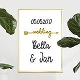 Personalisiertes Bild Wedding Pfeil | Metallic Effekt Folie | Hochzeitsgeschenke | Personalisierte Geschenke