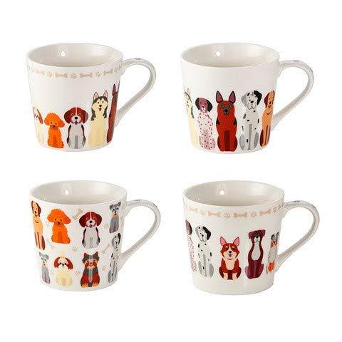 SPOTTED DOG GIFT COMPANY 4er Set Hunde Tassen groß Kaffeebecher Kaffeetassen Teetassen Mugs Porzellan weiß mit Hundemotiv, Geschenk für Hundebesitzer und Hundefreunde
