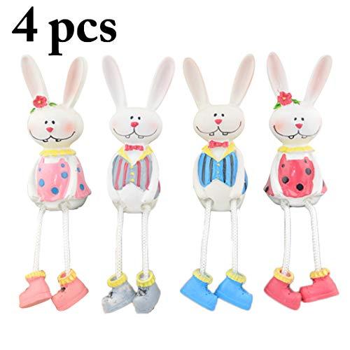 Justdolife 4pcs ornamento in resina pasquale coniglio creativo ornamento da scrivania per la decorazione